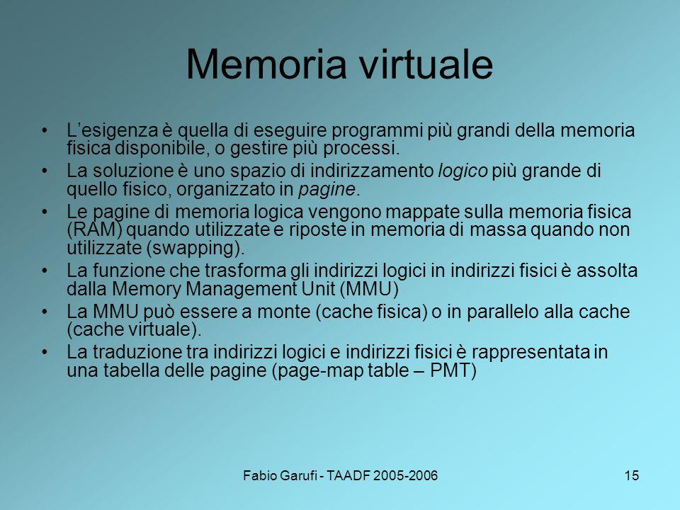 Memoria virtuale L'esigenza è quella di eseguire programmi più grandi della memoria fisica disponibile, o gestire più processi.
