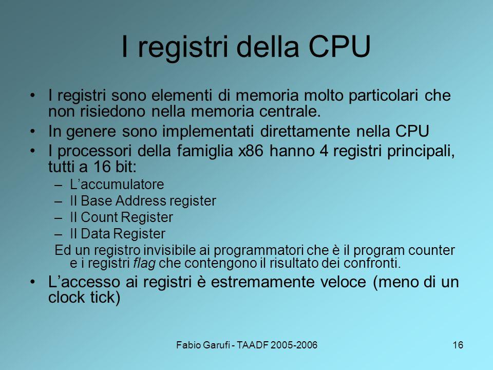 I registri della CPU I registri sono elementi di memoria molto particolari che non risiedono nella memoria centrale.