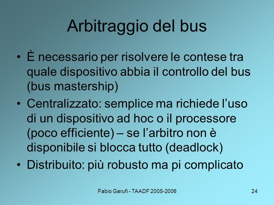 Arbitraggio del bus È necessario per risolvere le contese tra quale dispositivo abbia il controllo del bus (bus mastership)