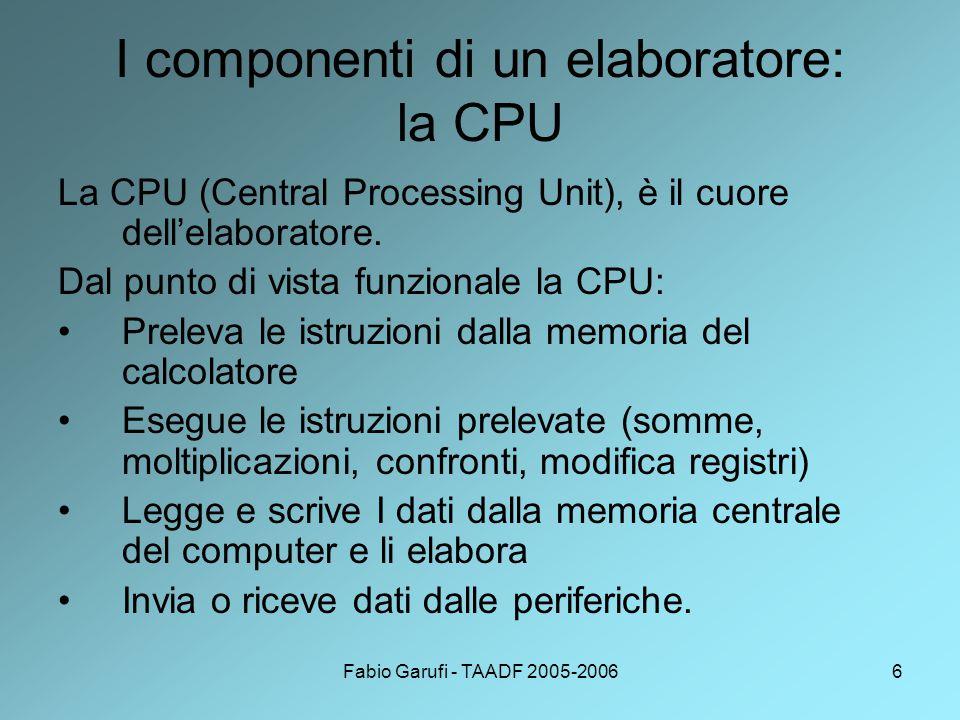 I componenti di un elaboratore: la CPU