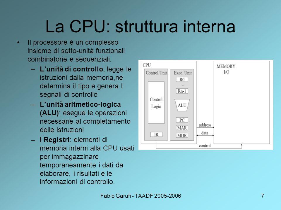 La CPU: struttura interna