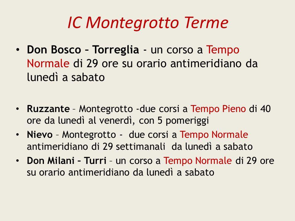 IC Montegrotto Terme Don Bosco – Torreglia - un corso a Tempo Normale di 29 ore su orario antimeridiano da lunedì a sabato.