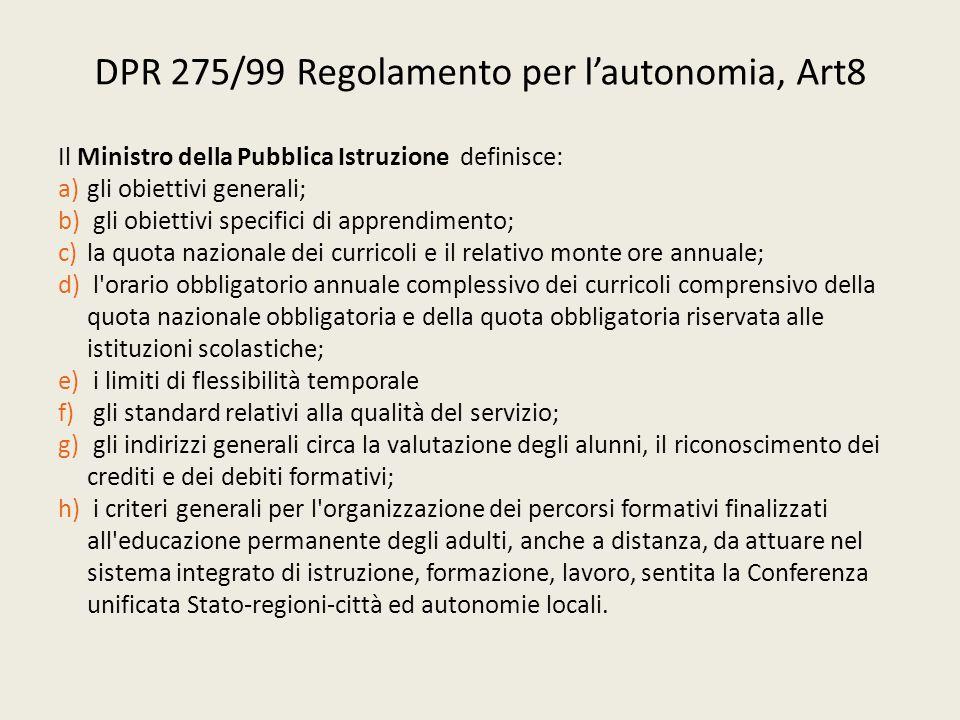 DPR 275/99 Regolamento per l'autonomia, Art8