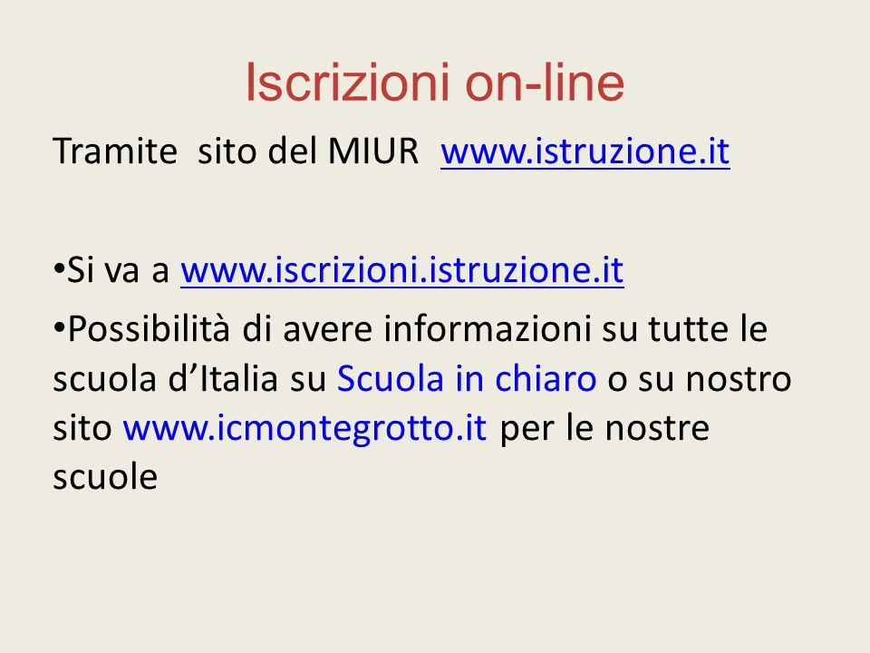 Iscrizioni on-line Tramite sito del MIUR www.istruzione.it
