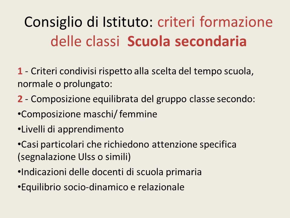 Consiglio di Istituto: criteri formazione delle classi Scuola secondaria