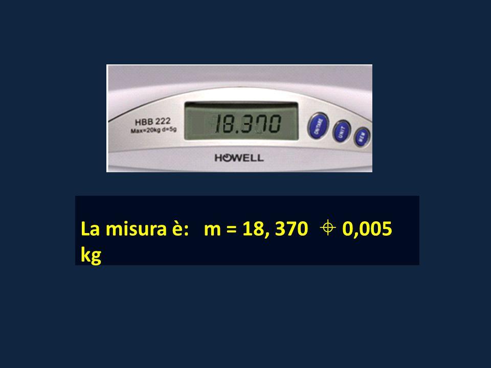 La misura è: m = 18, 370  0,005 kg