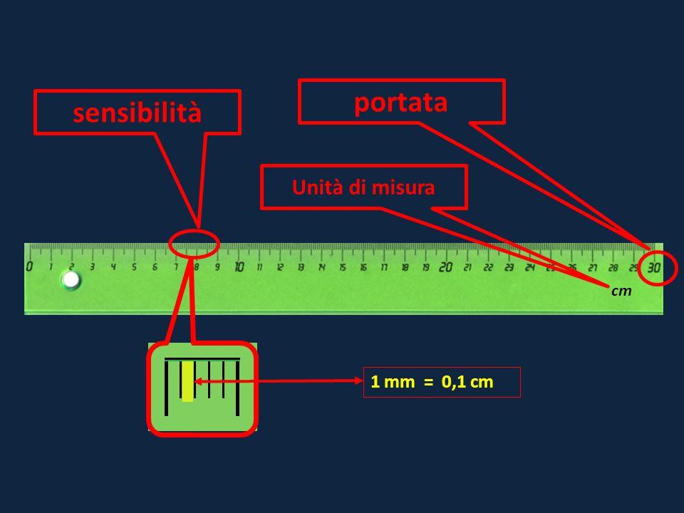 portata sensibilità Unità di misura cm 1 mm = 0,1 cm