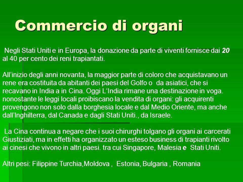 Commercio di organi Negli Stati Uniti e in Europa, la donazione da parte di viventi fornisce dai 20 al 40 per cento dei reni trapiantati.