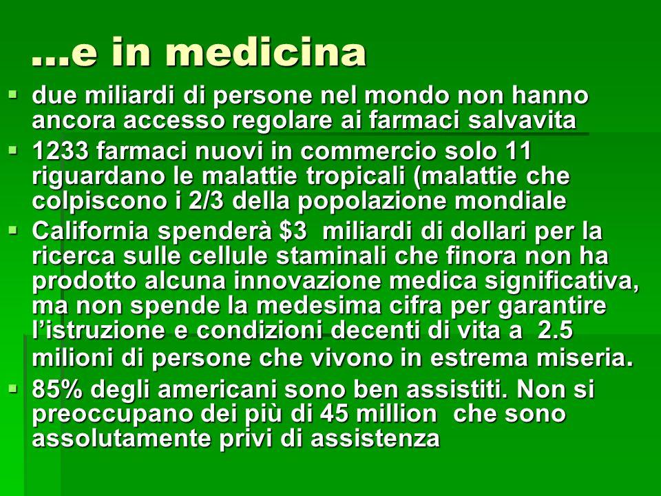 …e in medicina due miliardi di persone nel mondo non hanno ancora accesso regolare ai farmaci salvavita.