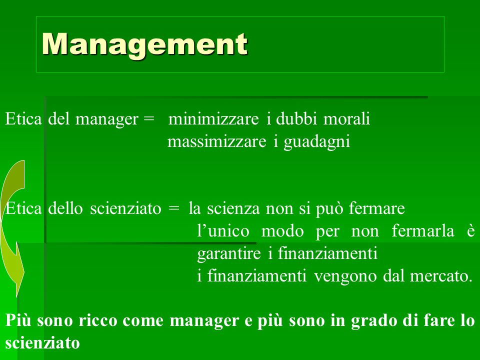 Management Etica del manager = minimizzare i dubbi morali