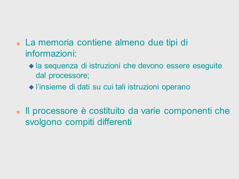 La memoria contiene almeno due tipi di informazioni: