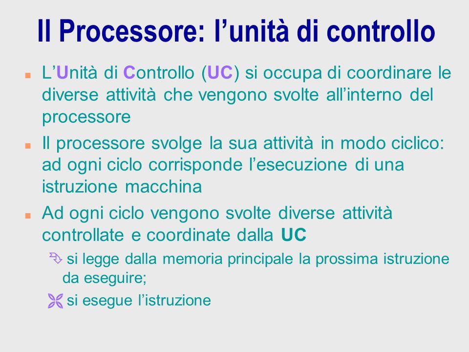 Il Processore: l'unità di controllo