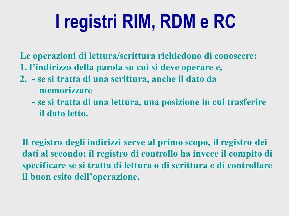 I registri RIM, RDM e RC Le operazioni di lettura/scrittura richiedono di conoscere: l'indirizzo della parola su cui si deve operare e,