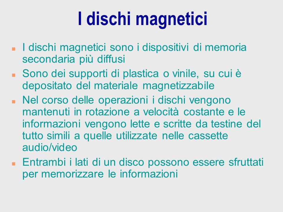 I dischi magnetici I dischi magnetici sono i dispositivi di memoria secondaria più diffusi.