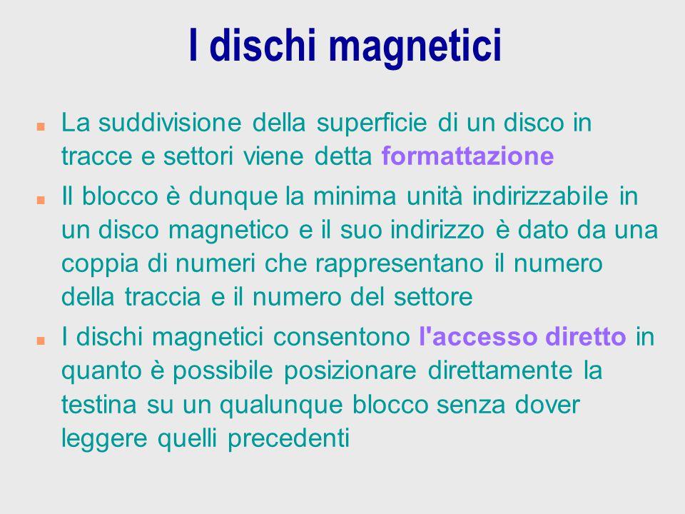 I dischi magnetici La suddivisione della superficie di un disco in tracce e settori viene detta formattazione.