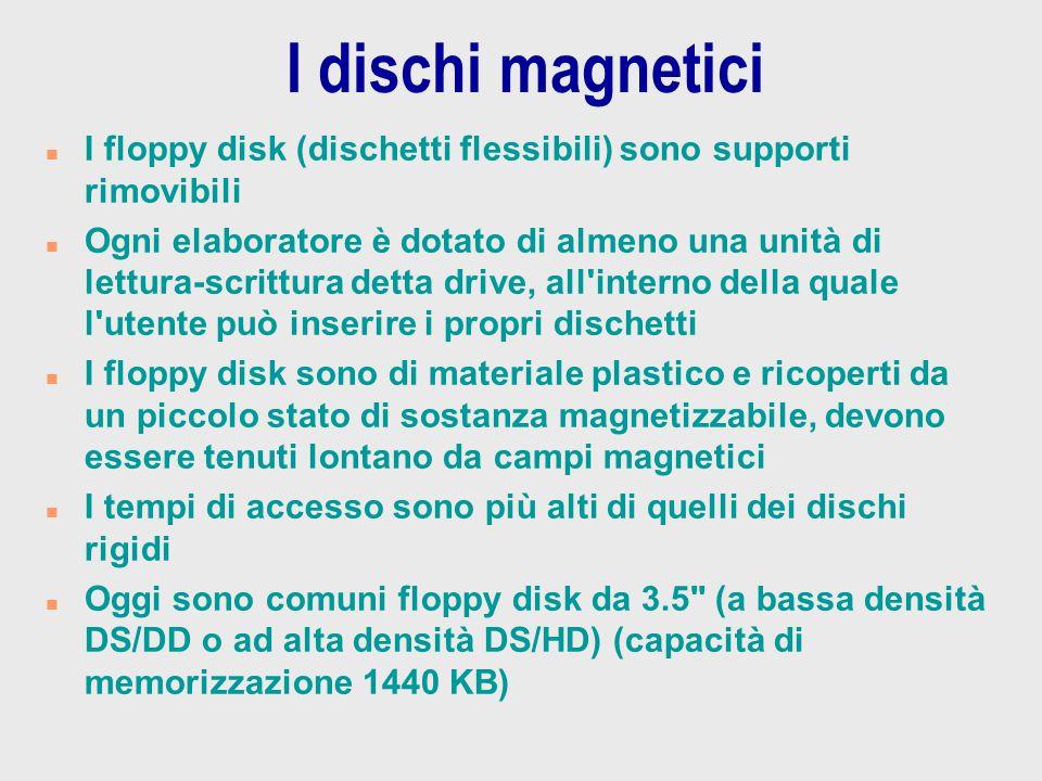 I dischi magnetici I floppy disk (dischetti flessibili) sono supporti rimovibili.