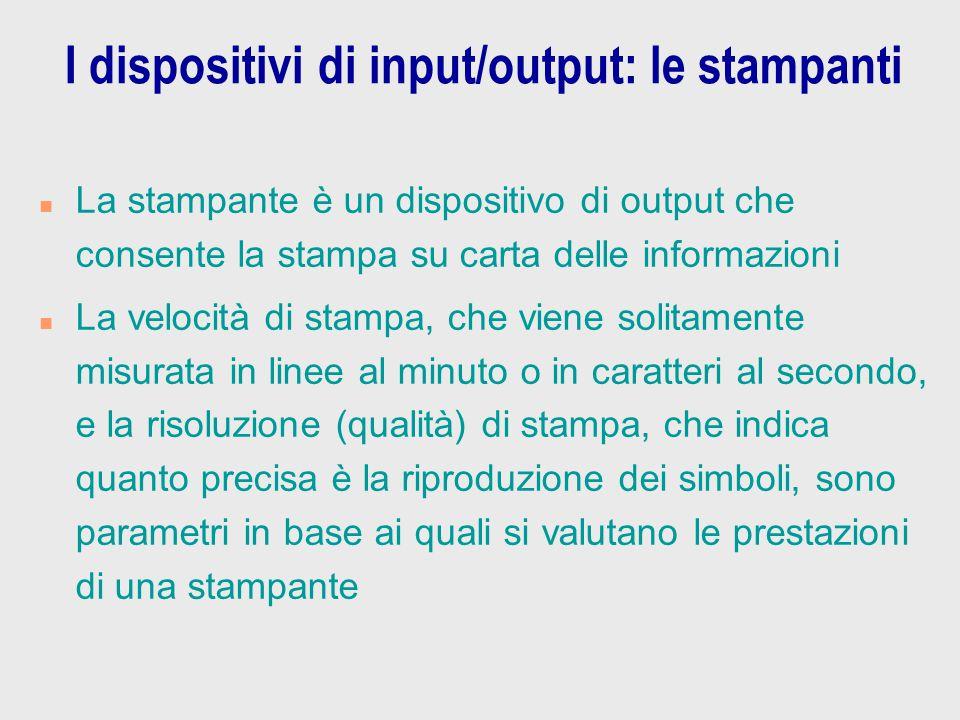I dispositivi di input/output: le stampanti