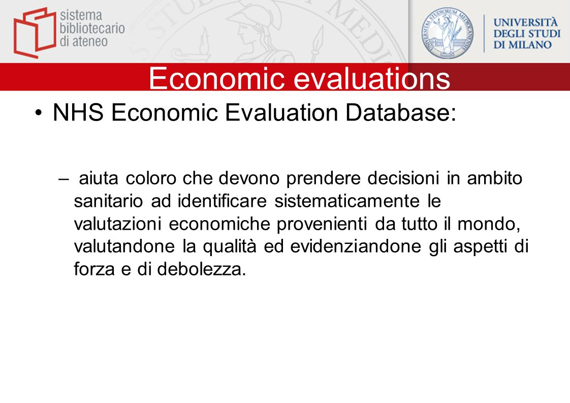 Economic evaluations NHS Economic Evaluation Database: