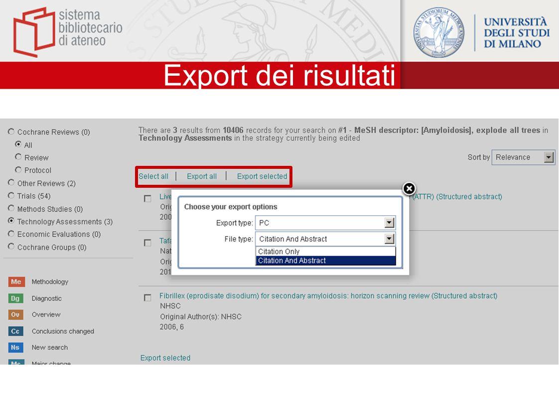 Export dei risultati