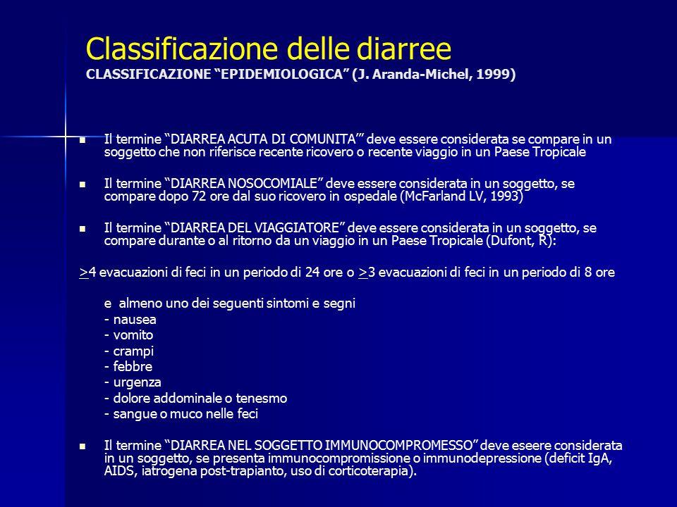 Classificazione delle diarree CLASSIFICAZIONE EPIDEMIOLOGICA (J