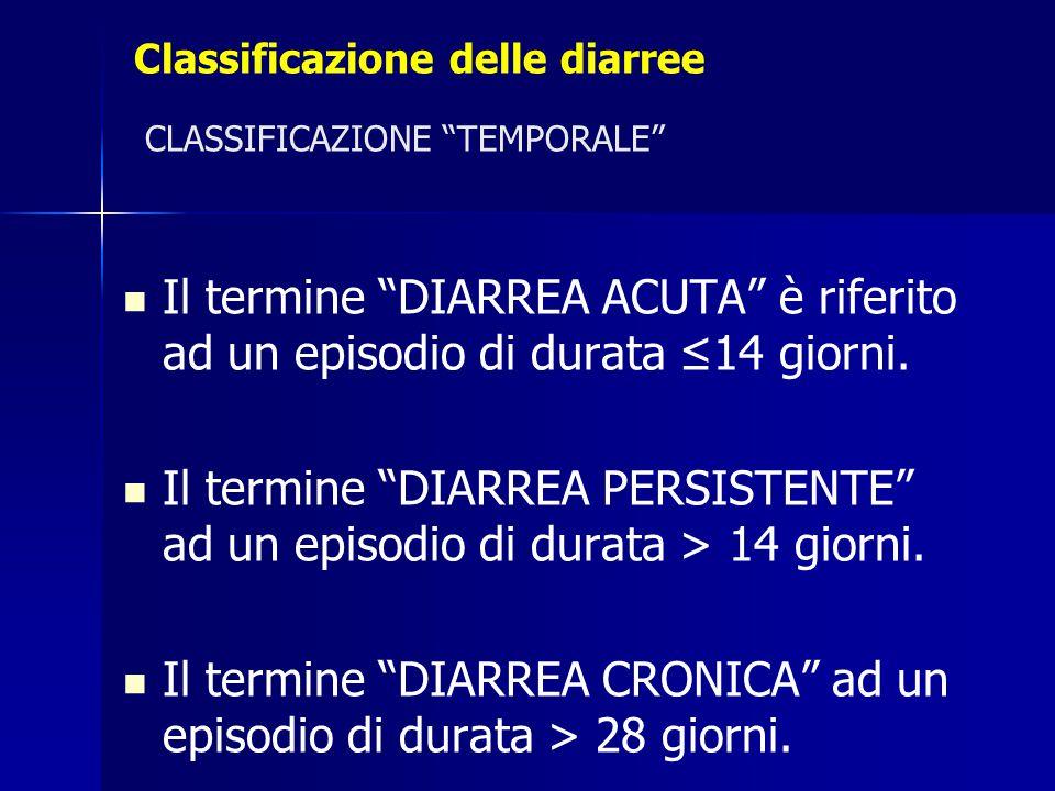 Classificazione delle diarree CLASSIFICAZIONE TEMPORALE