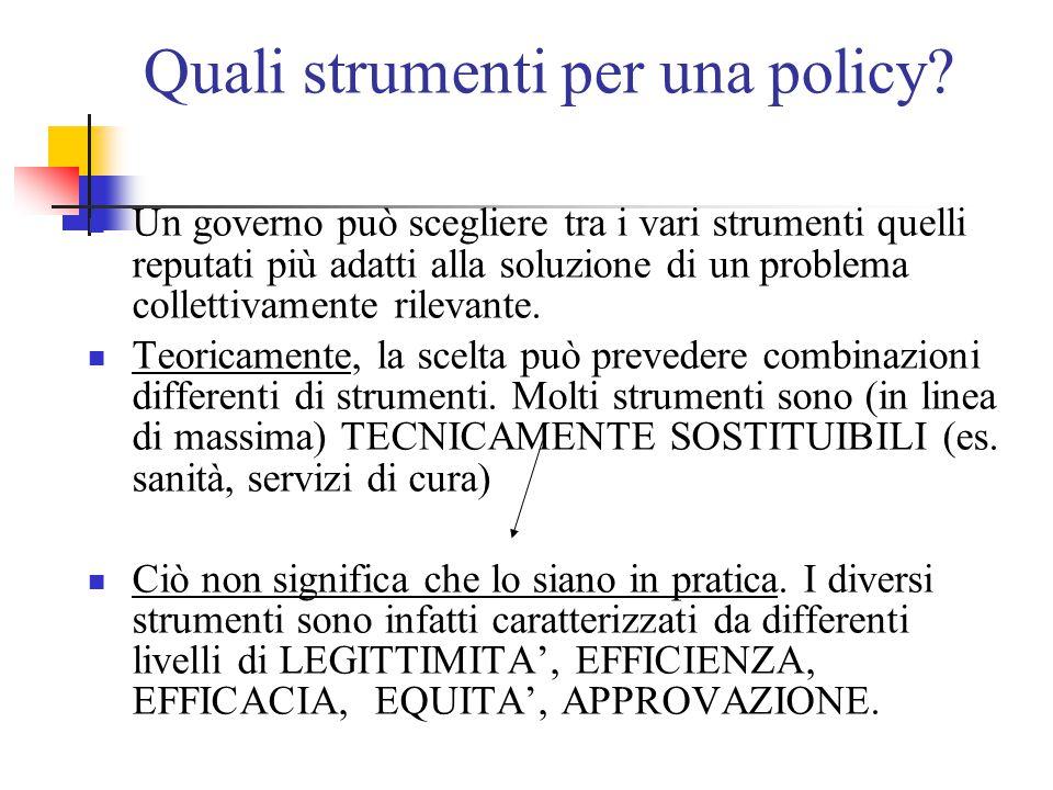 Quali strumenti per una policy