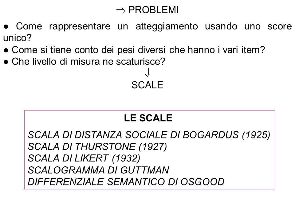  PROBLEMI ● Come rappresentare un atteggiamento usando uno score unico ● Come si tiene conto dei pesi diversi che hanno i vari item
