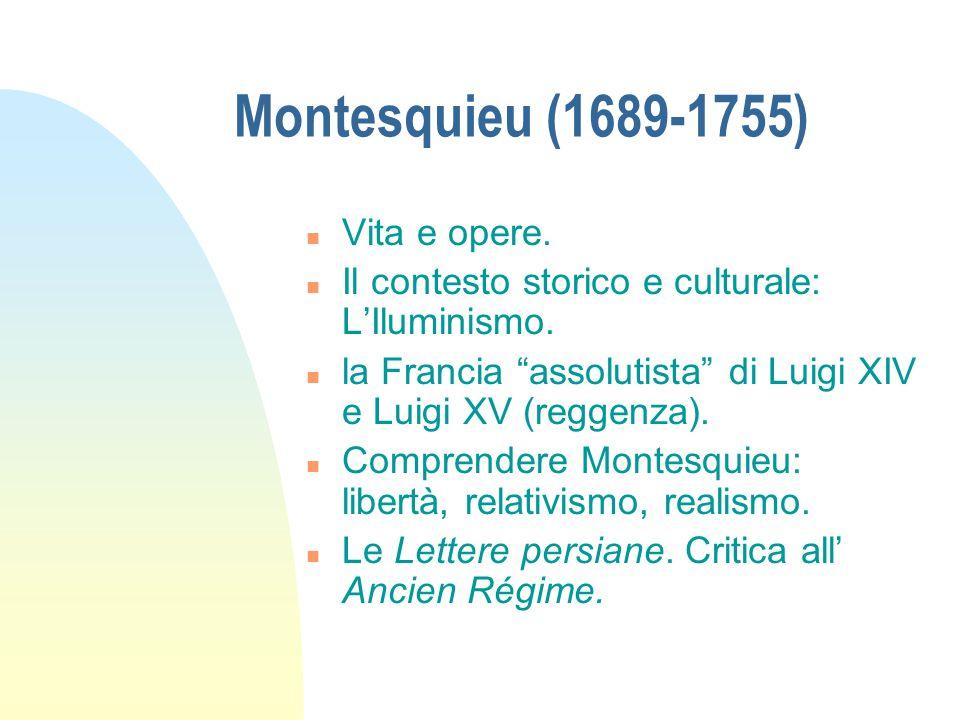 Montesquieu (1689-1755) Vita e opere.