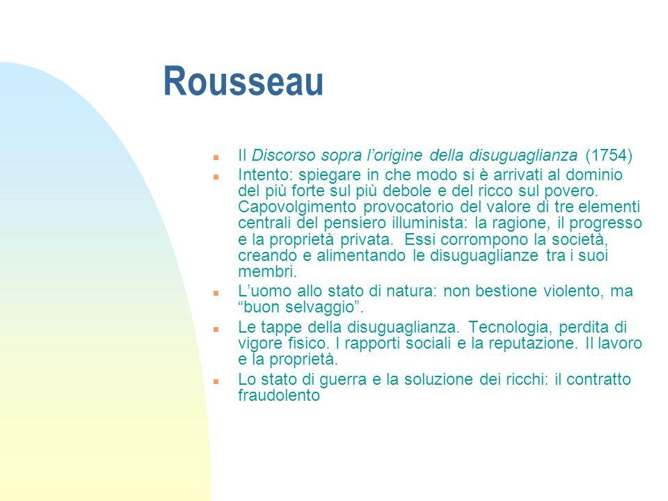 Rousseau Il Discorso sopra l'origine della disuguaglianza (1754)