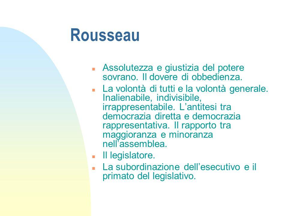 Rousseau Assolutezza e giustizia del potere sovrano. Il dovere di obbedienza.