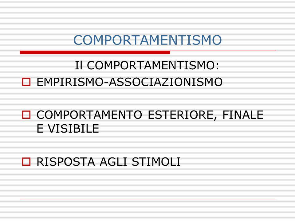 COMPORTAMENTISMO Il COMPORTAMENTISMO: EMPIRISMO-ASSOCIAZIONISMO