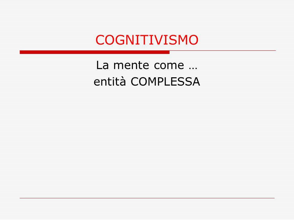 COGNITIVISMO La mente come … entità COMPLESSA