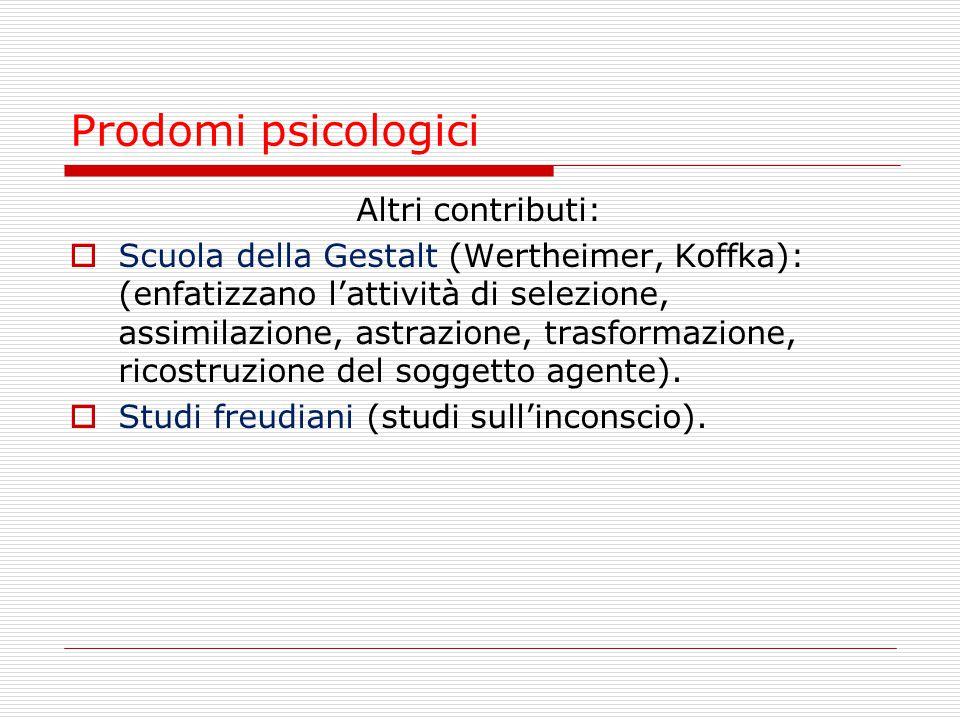 Prodomi psicologici Altri contributi: