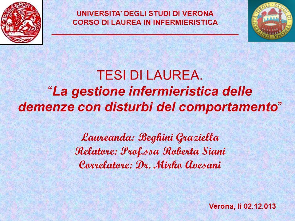 UNIVERSITA' DEGLI STUDI DI VERONA