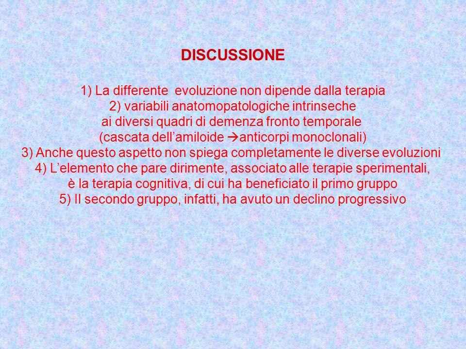 DISCUSSIONE 1) La differente evoluzione non dipende dalla terapia