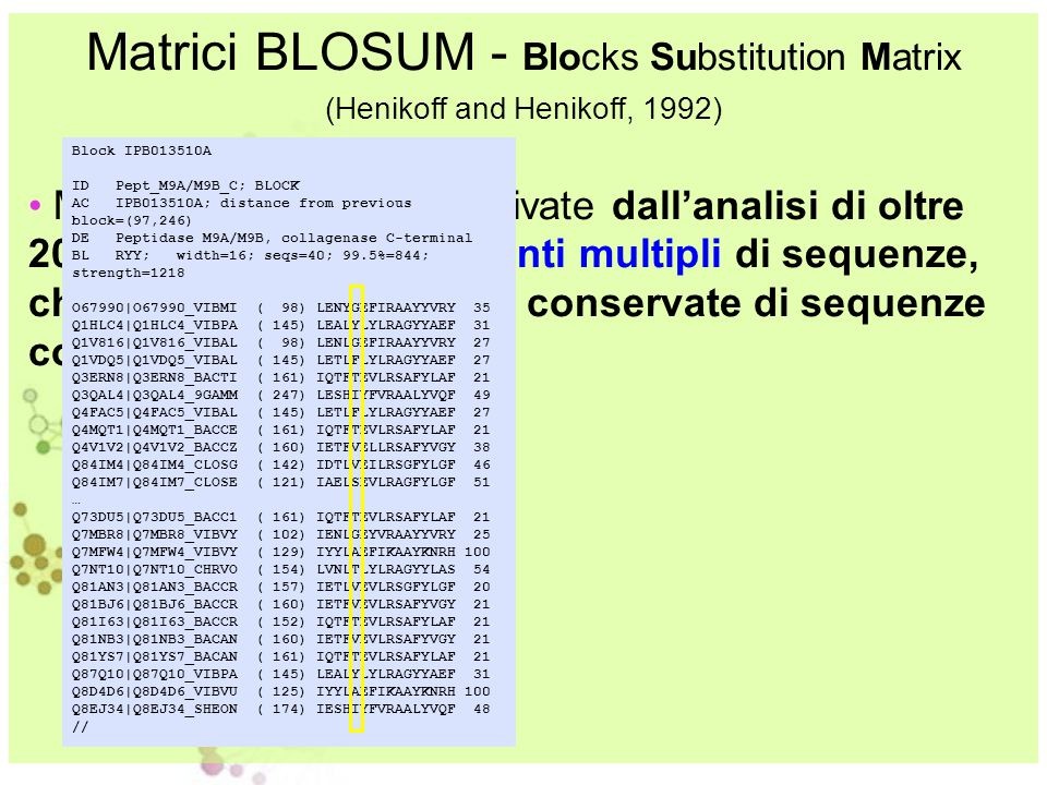Matrici BLOSUM - Blocks Substitution Matrix