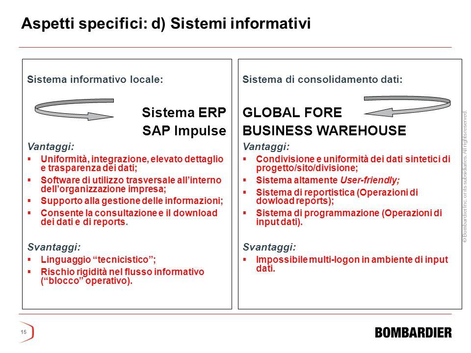 Aspetti specifici: d) Sistemi informativi
