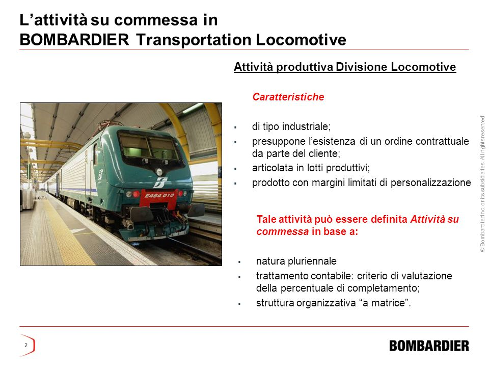 L'attività su commessa in BOMBARDIER Transportation Locomotive