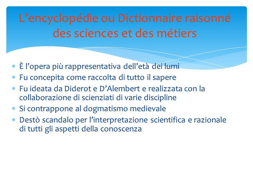 L'encyclopédie ou Dictionnaire raisonné des sciences et des métiers