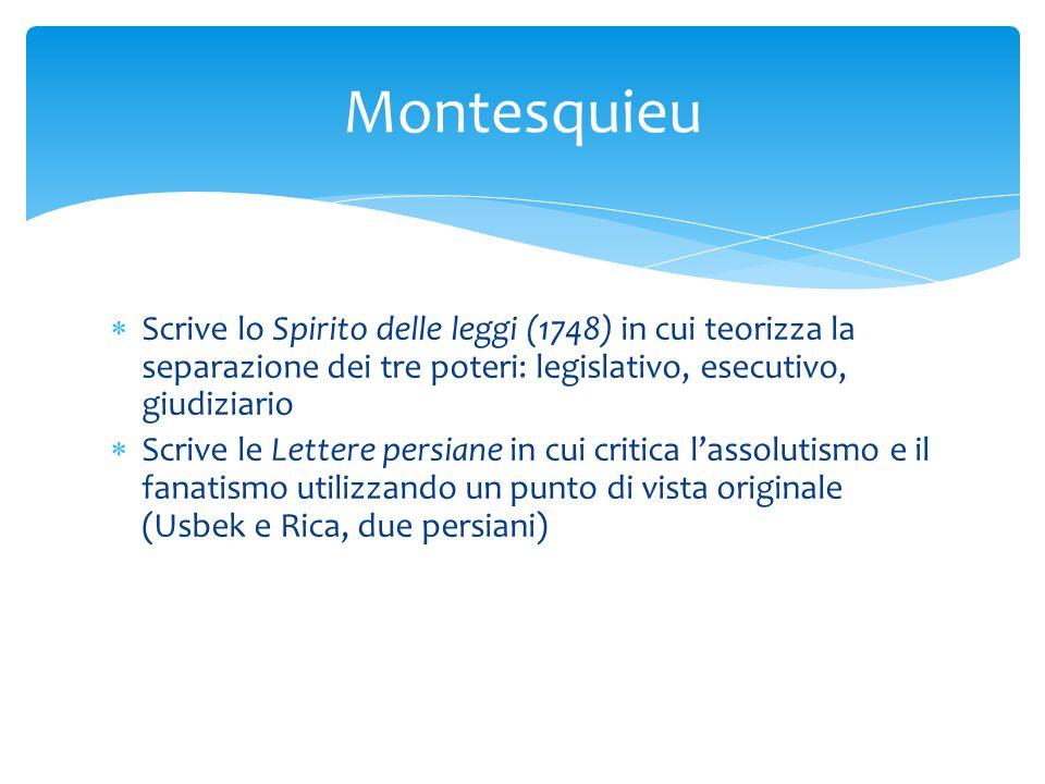 Montesquieu Scrive lo Spirito delle leggi (1748) in cui teorizza la separazione dei tre poteri: legislativo, esecutivo, giudiziario.