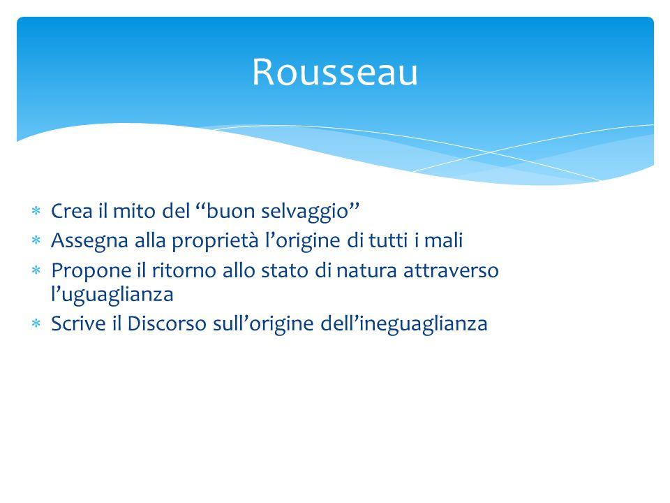 Rousseau Crea il mito del buon selvaggio