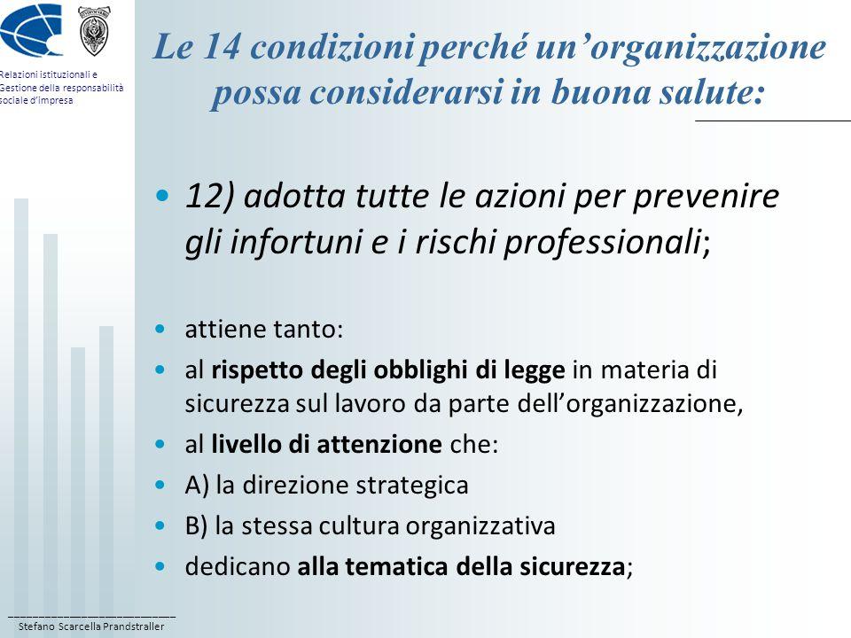 Le 14 condizioni perché un'organizzazione possa considerarsi in buona salute: