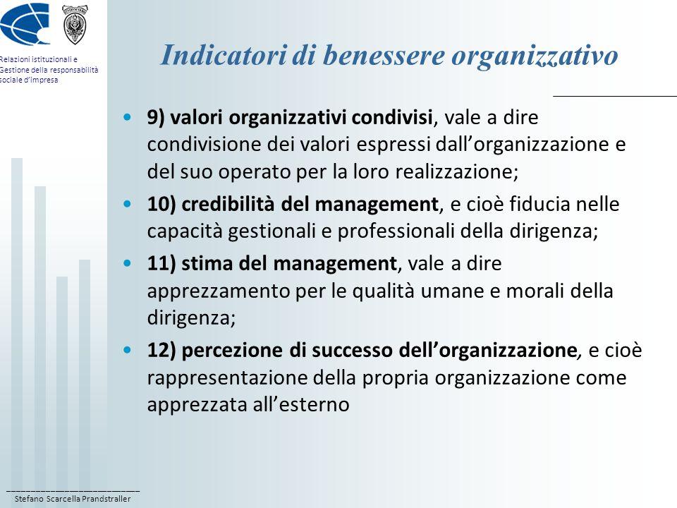 Indicatori di benessere organizzativo
