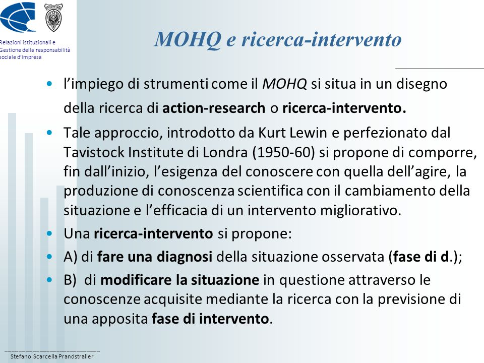 MOHQ e ricerca-intervento