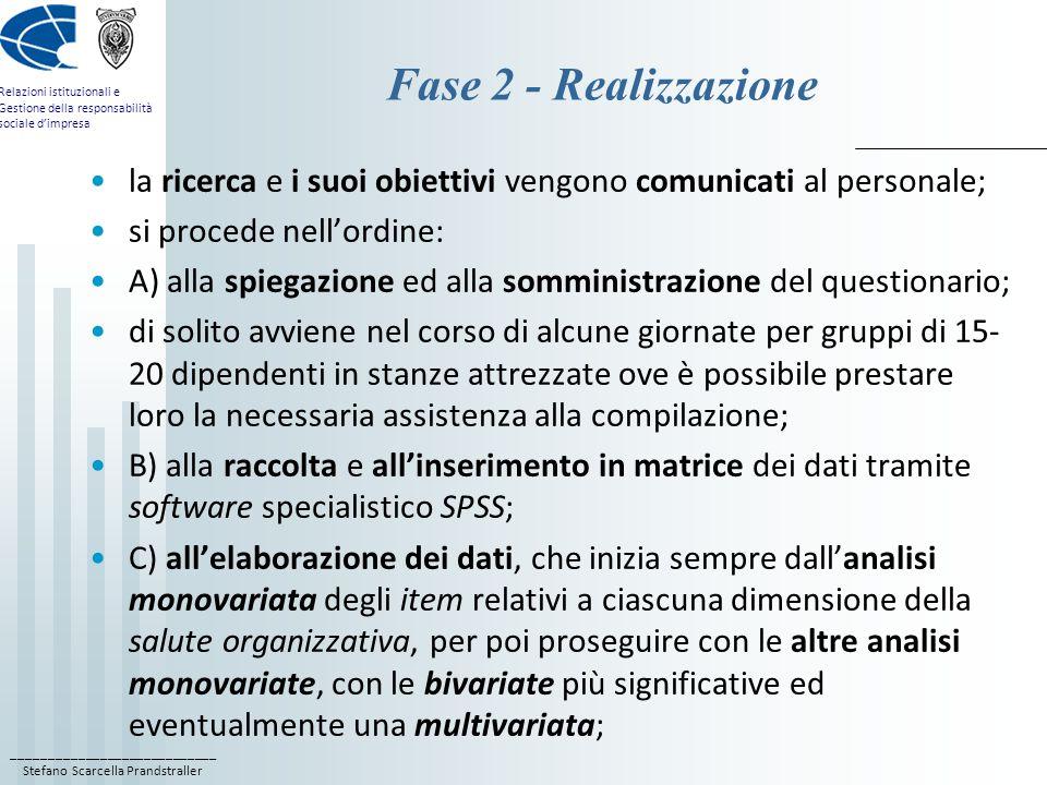 Fase 2 - Realizzazione la ricerca e i suoi obiettivi vengono comunicati al personale; si procede nell'ordine: