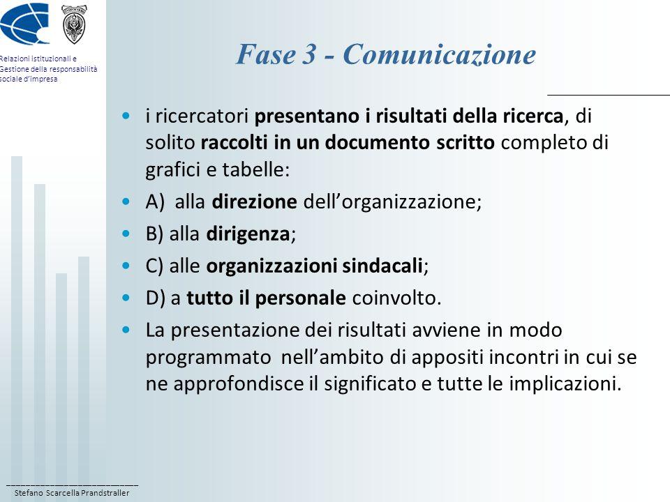 Fase 3 - Comunicazione i ricercatori presentano i risultati della ricerca, di solito raccolti in un documento scritto completo di grafici e tabelle: