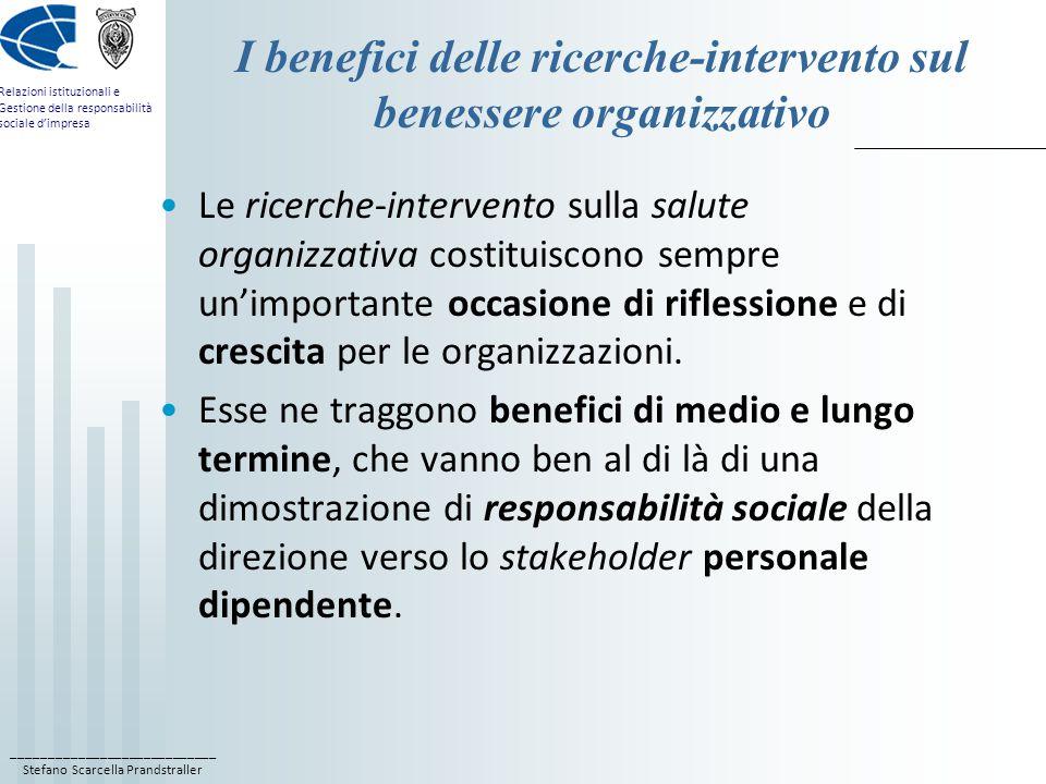 I benefici delle ricerche-intervento sul benessere organizzativo