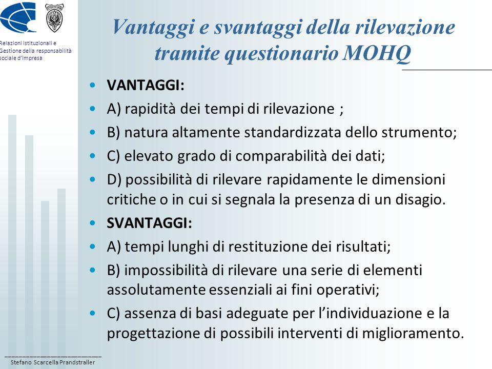 Vantaggi e svantaggi della rilevazione tramite questionario MOHQ
