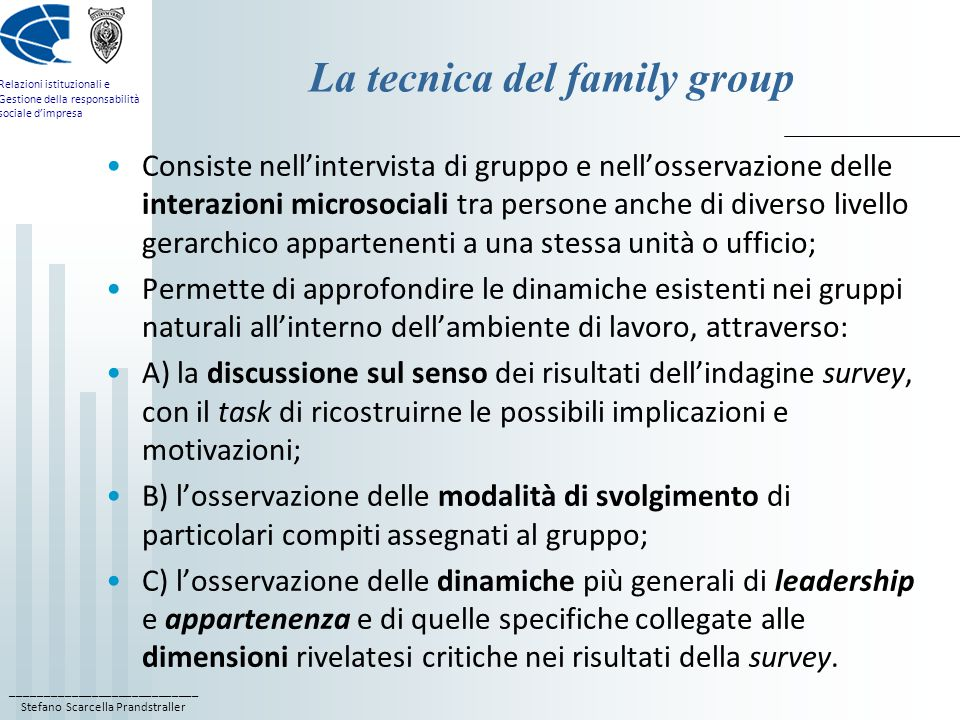 La tecnica del family group
