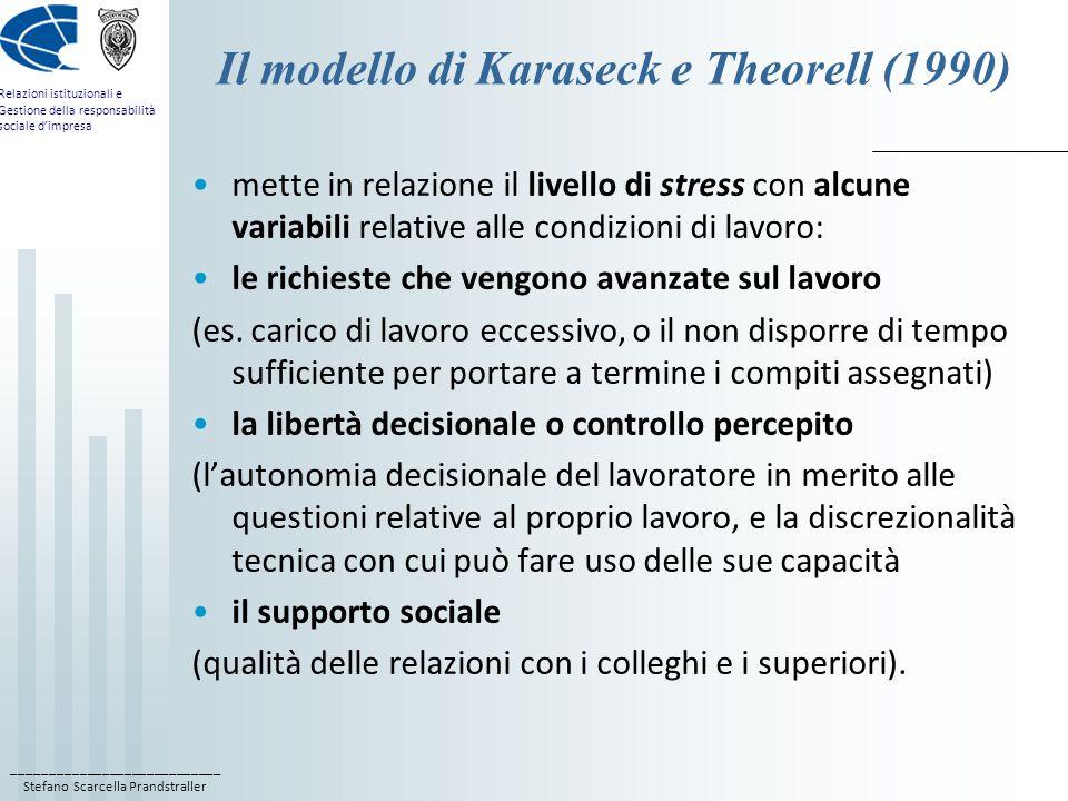 Il modello di Karaseck e Theorell (1990)